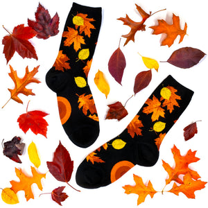 Fall leaves socks by ModSocks, with colorful fall foliage.