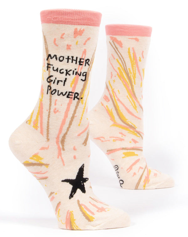 "Funny socks for women that say ""Mother Fucking Girl Power"""