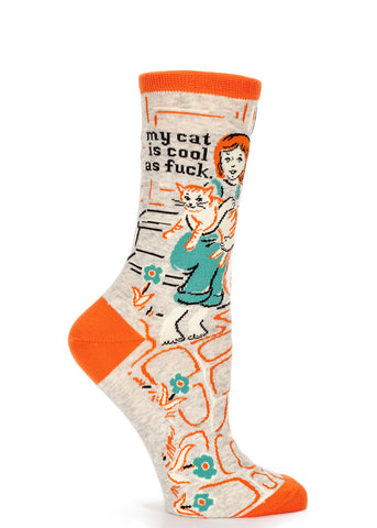 "Funny Cat Socks for women that say  ""My Cat Is Cool As Fuck"""