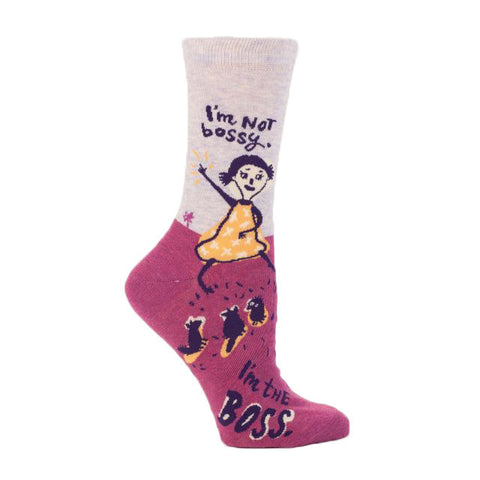 Women's I'm Not Bossy I'm the Boss Crew Socks in pink