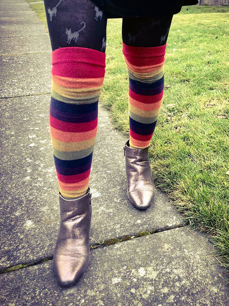 Over-the-knee socks worn with boots