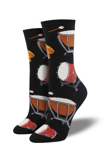 Percussion drum socks for women with timpani, bass drums and cymbals