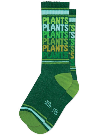 Retro plant socks with the word PLANTS