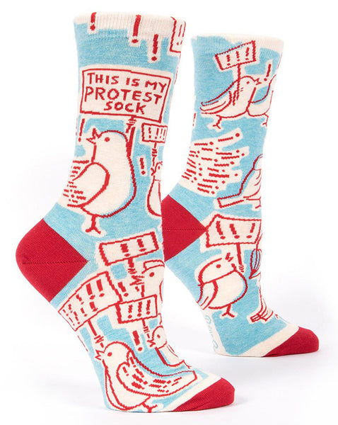 "Protest socks for women with birds holding signs and the words ""THIS IS MY PROTEST SOCK"""