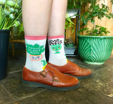Proud Plant Mom socks with plants and words
