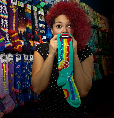 Funny puking rainbow socks with lips throwing up a rainbow