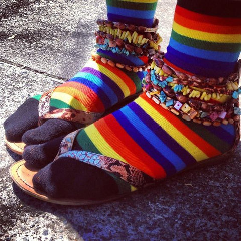 Rainbow striped socks with sandals