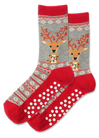 Cute Christmas reindeer socks with ornaments and Christmas lights