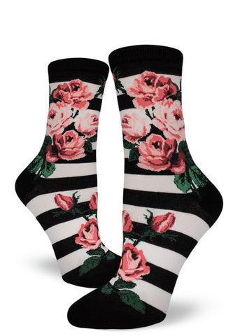Rose socks for women with pink roses on black & white stripes