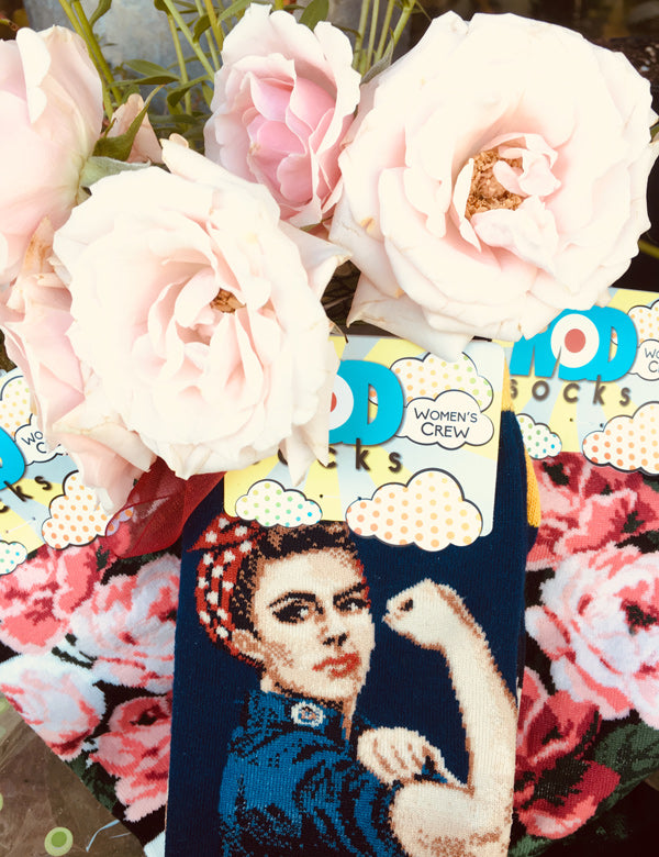 Rosie the Riveter socks and roses