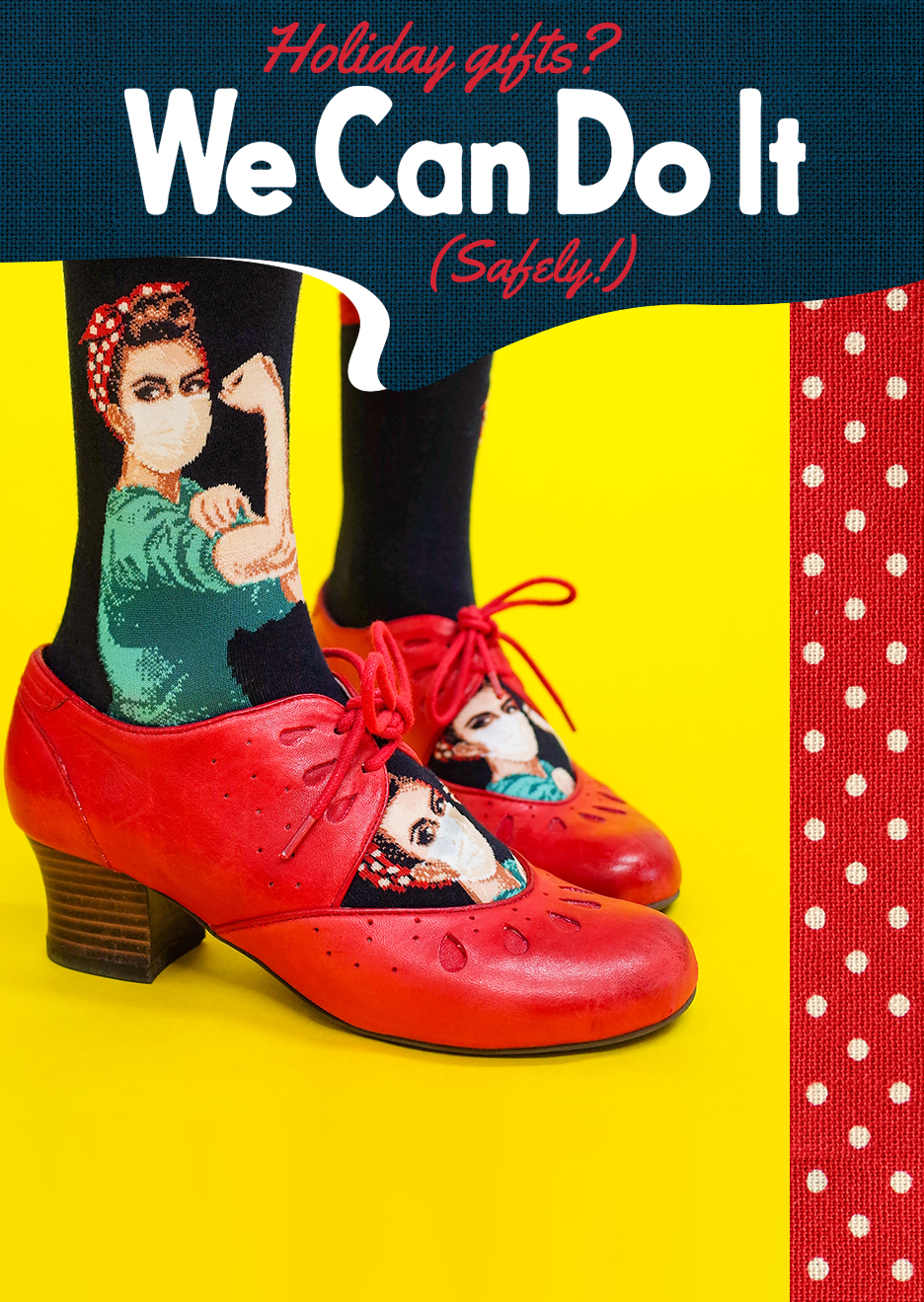 Nurse Rosie the Riveter wears a face mask on a novelty sock, worn with vintage red pump shoes.