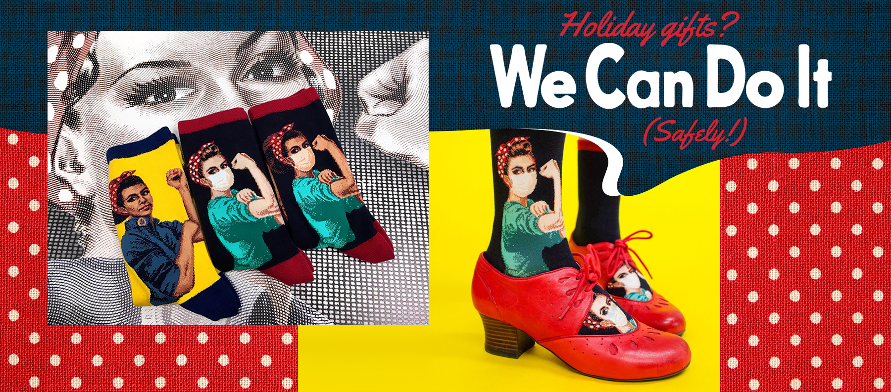 Novelty socks with images of Rosie the Riveter including Black Rosie with a Black power salute and a nurse Rosie the Riveter wearing a face mask.