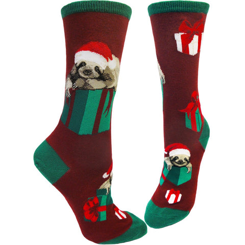 Christmas socks with a sloth dressed as Santa Claus