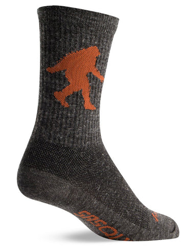 "Wool socks with Sasquatch walking and the word ""Sasquatch"" on the bottom"