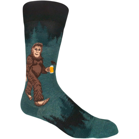 Socks with Sasquatch drinking beer