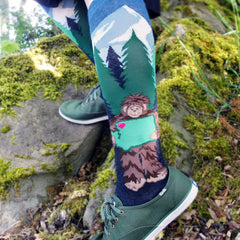 Sasquatch loves Washington on ModSocks' bigfoot-themed Pacific Northwest-inspired knee socks.