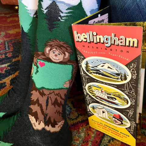Sasquatch Loves Washington socks with map of Bellingham WA