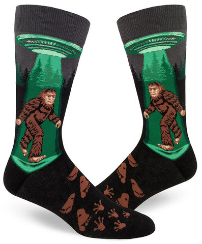 Funny Sasquatch and UFO socks for men