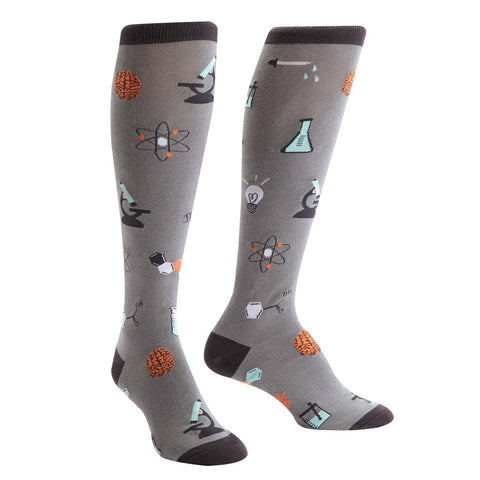Science lab socks for women nerdy knee highs