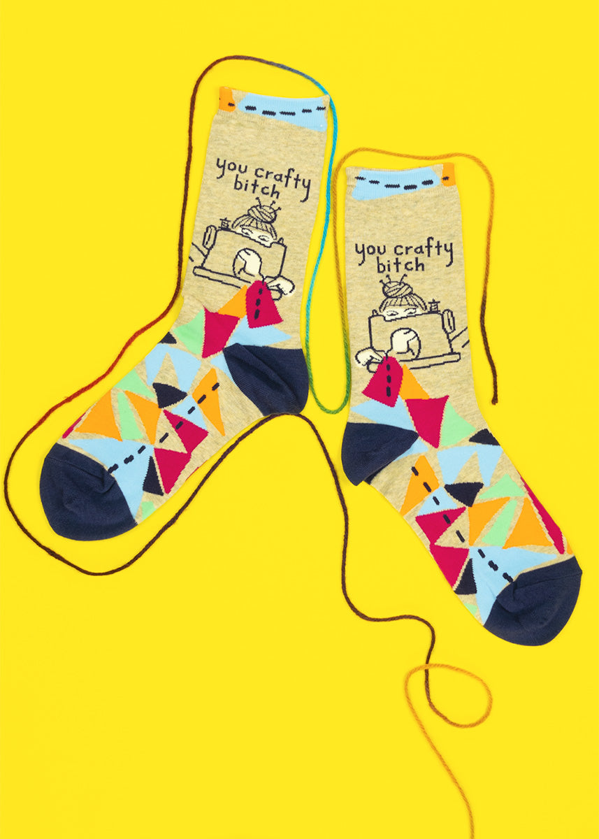 """Funny sewing socks that say """"You Crafty Bitch"""""""