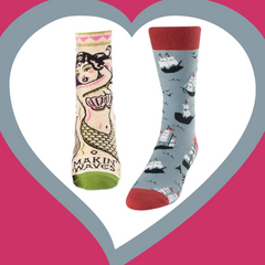 Ship Shape Men's Crew Socks and Mermaids Makin' Waves Ankle Socks