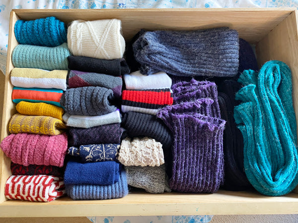 Sock drawer with rows on folded socks