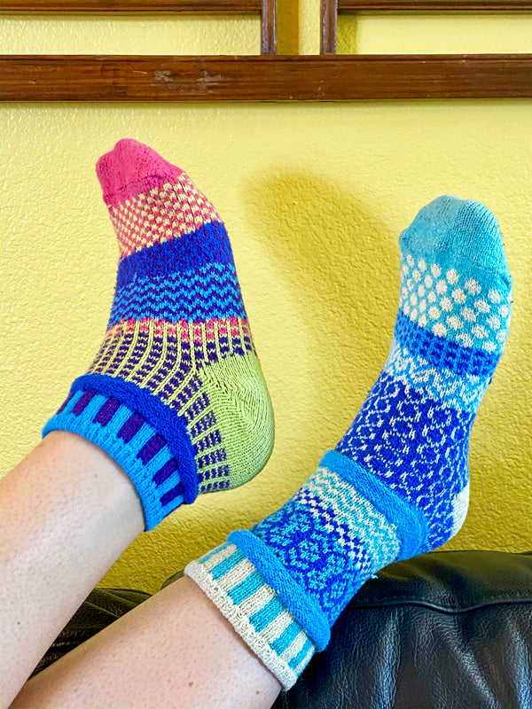 Cute Solmate Socks mismatched and made from recycled yarn