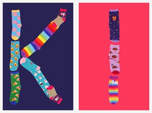 Kids' socks in colorful and fun patterns with food, animals and rainbows.