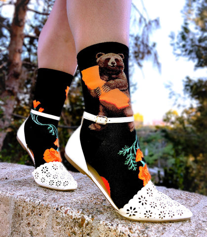 White sandals with California Bear socks for women with bears and California poppies