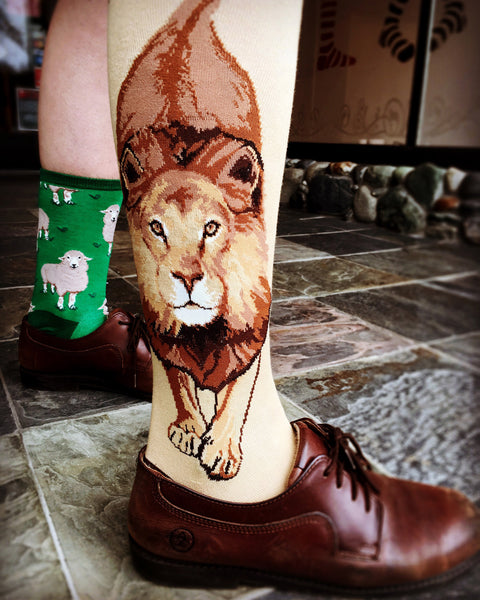 Lion knee socks for women worn with Oxford shoes