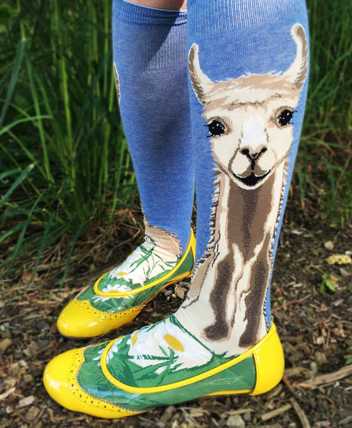 Llama knee socks with ballet flats and a skirt