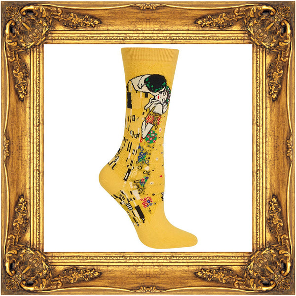 Klimt's masterpiece The Kiss is featured on these golden yellow art socks.