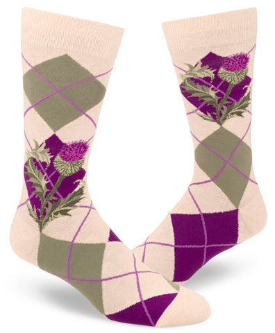 Scottish socks with thistles and argyle pattern for men