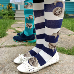 Women's Sloth Stripe Knee Socks in navy and teal
