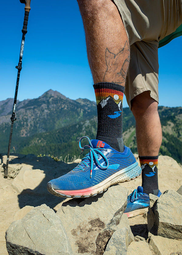 Wool hiking socks for men with mountains on them