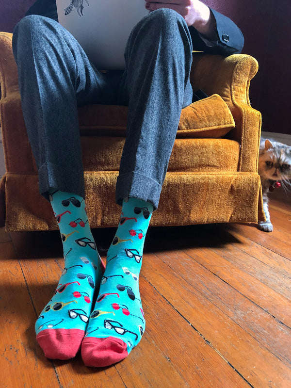 "Funny glasses socks to ""focus"" while working from home"