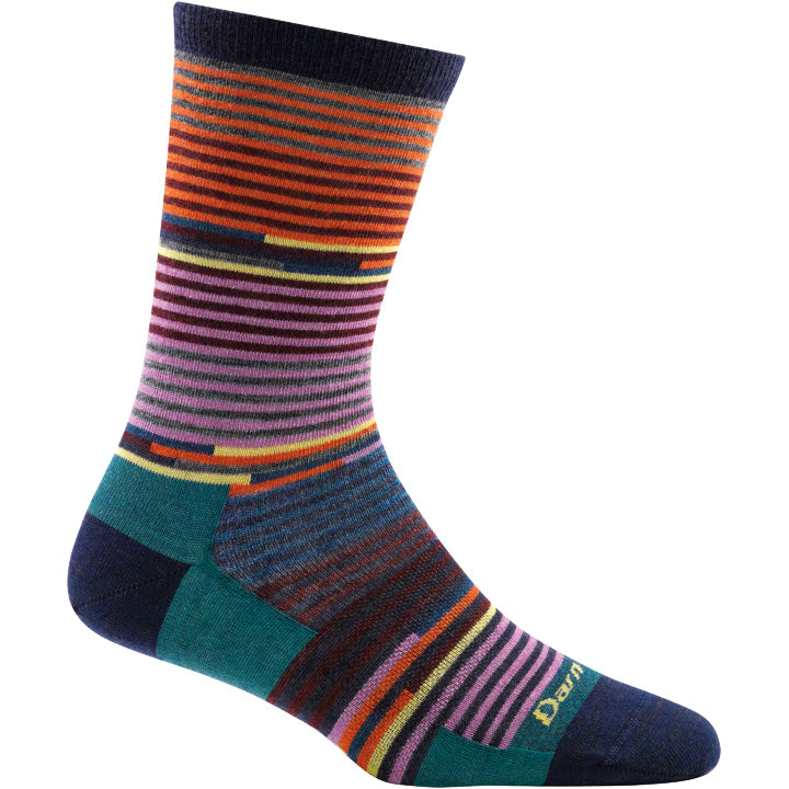 Striped wool socks for women in pretty blue, purple and orange colors