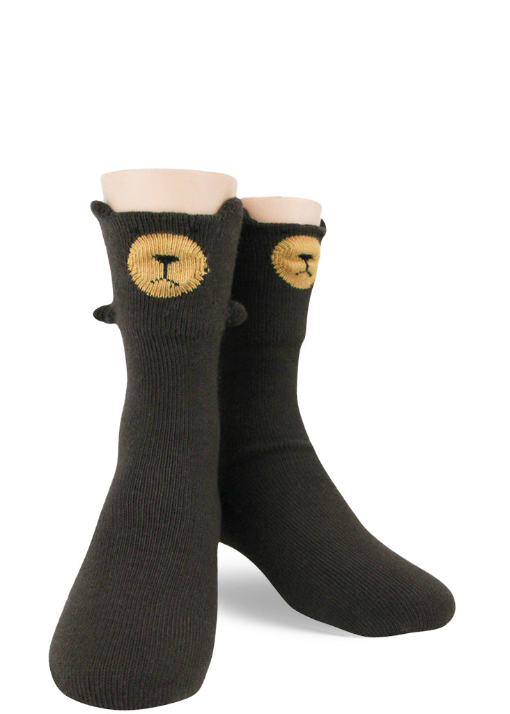 Cute socks for kids make each foot look like an adorable brown bear with 3-D paws, ears, and nose!