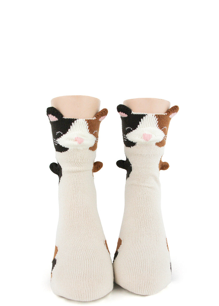 Cat socks for kids with 3D ears and paws that stick out