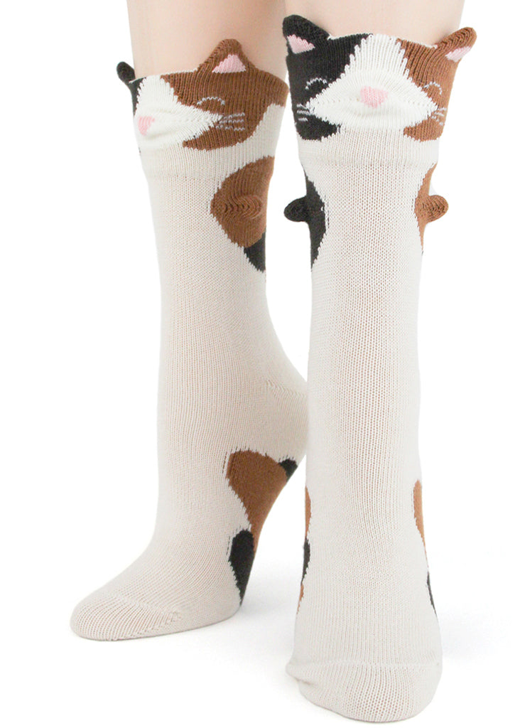 Calico cat socks for women with 3D cat faces, ears and paws