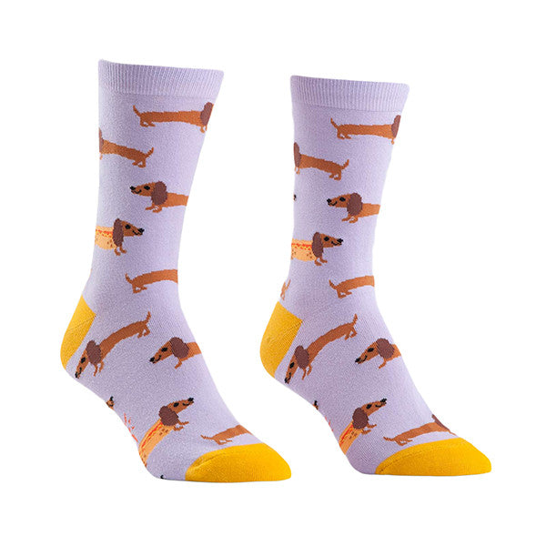 Dachshund socks for women with wiener dogs in hotdog buns