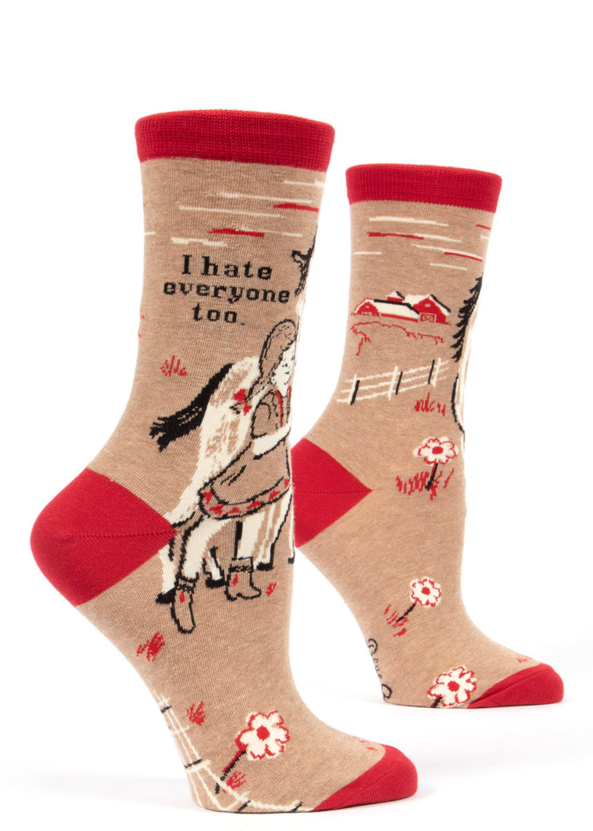 "Funny women's socks that say ""I hate everyone too,"" and show a girl with her horse."