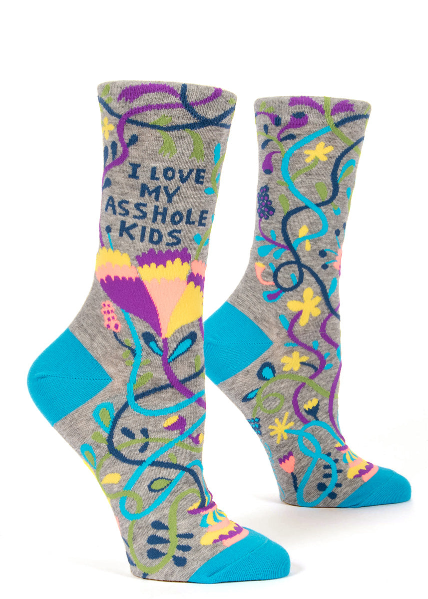 "These funny socks for moms say ""I Love My Asshole Kids."""