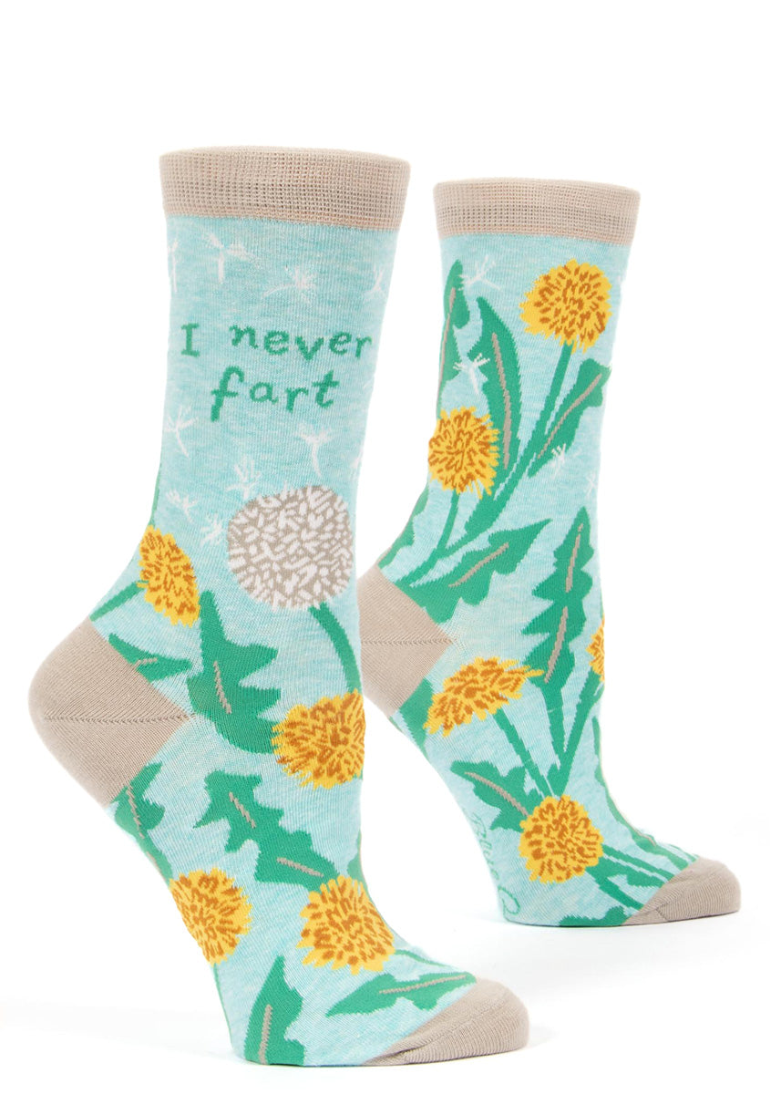 "Funny socks for women feature dandelions and the words, ""I never fart."""
