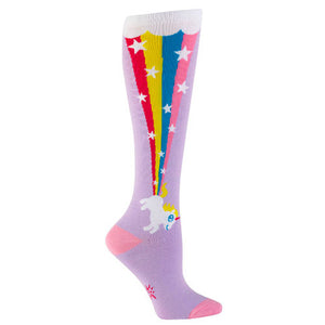 Lavender knee socks feature a white unicorn blasting a star-filled rainbow.