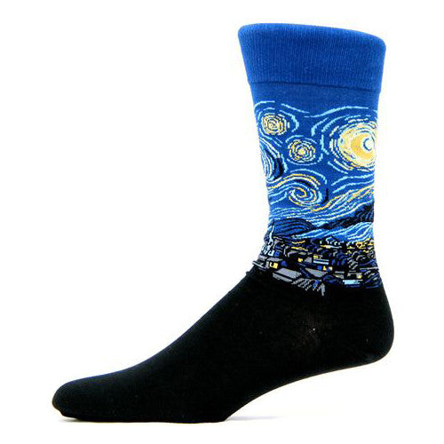 A night sky of swirling blue and gold, a rendering of van Gogh's Starry Night painting, wraps these fine art men's socks by Hot Sox.