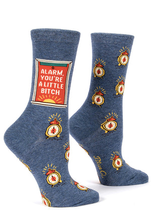 "Funny women's socks with alarm clocks that say ""Alarm Clock You're A Little Bitch."""