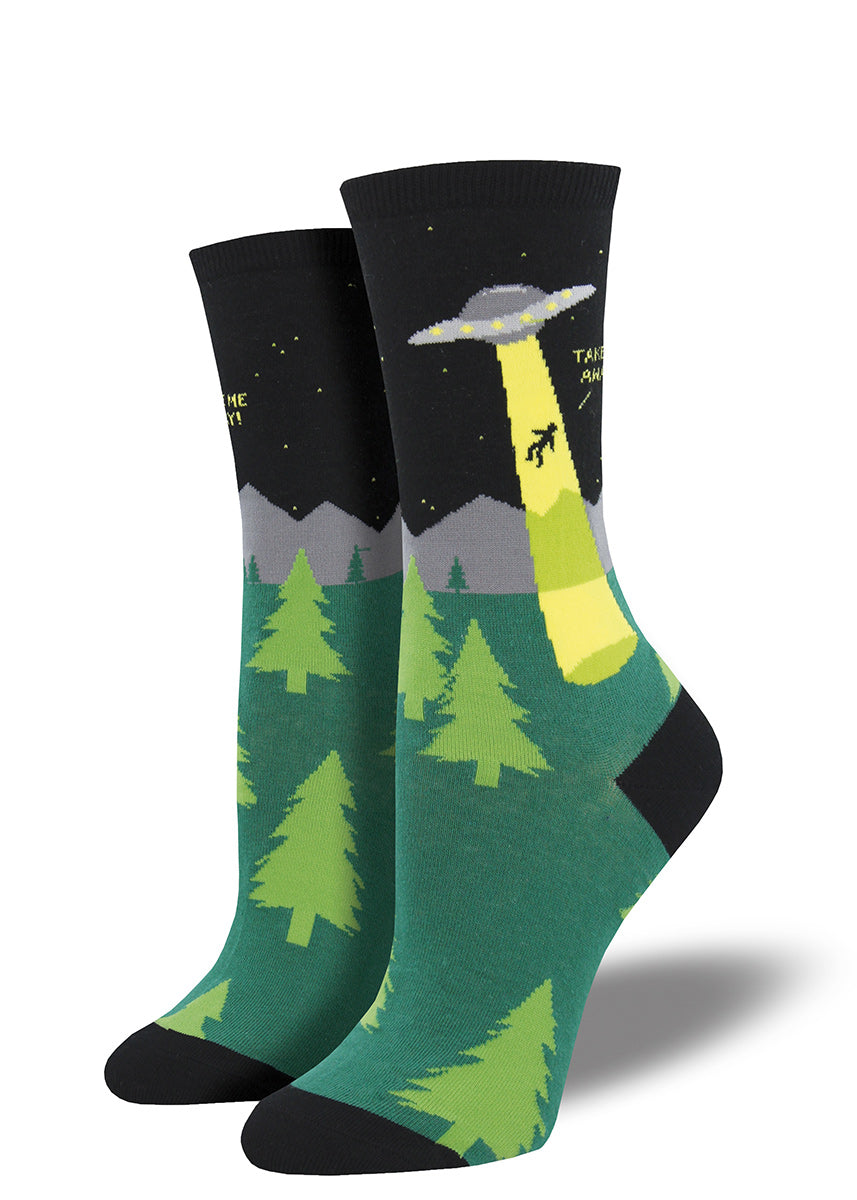 Alien socks for women with UFOs on them.
