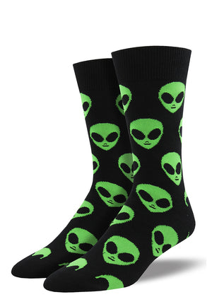 Alien face socks for men with green aliens on black socks