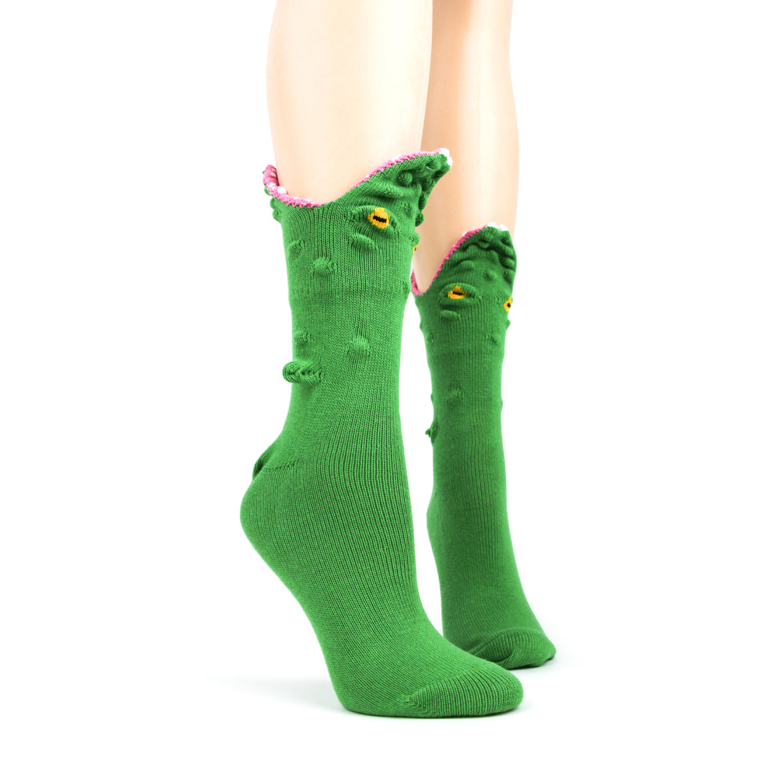 Funny alligator socks make it look like your feet are being eaten.